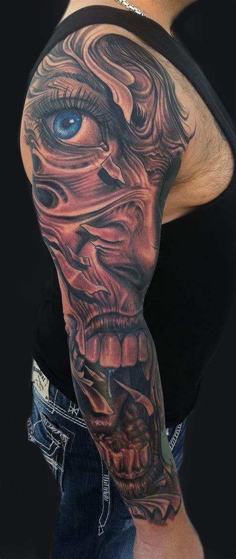 long sleeve tattoo mike devries tattoos evil sleeve