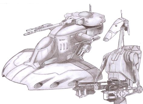 star wars snowspeeder coloring page battle droid with aat by slayerlane on deviantart