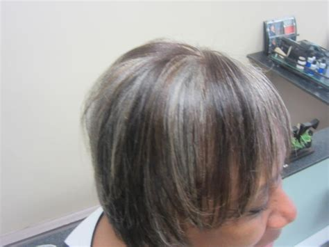 pictures of grey hair with lowlights lowlights for gray hair short hairstyle 2013