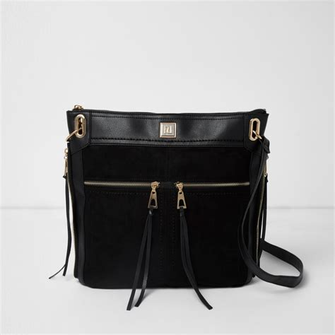 Zip Mini Shoulder Bag black zip pocket messenger bag shoulder bags bags