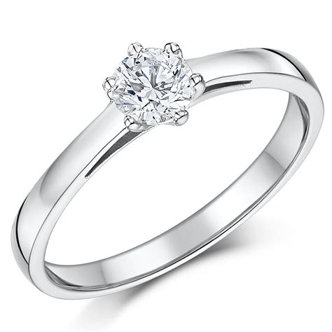 9ct white gold half carat six claw solitaire