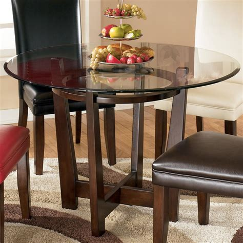 round glass top kitchen table signature design by ashley charrell round glass top table