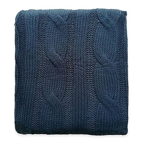 navy knit throw buy cable knit throw in navy from bed bath beyond
