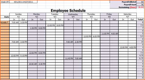 6 week work schedule template 6 weekly work schedule template excel budget template