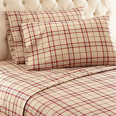 plaid bed sheets buy micro flannel 174 carlton plaid twin sheet set in tan