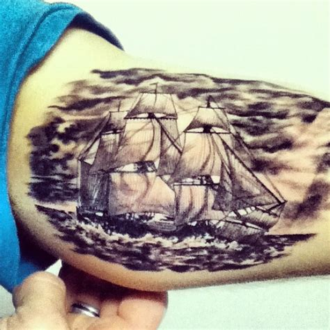 liquid tattoo 18th century ship done by greg sumii owner of