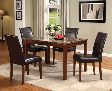 Marble Table Top Dining Set Portland Brown Marble Top Dining Table Set Four Chairs 5pc