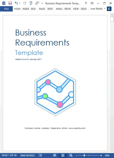 business requirements template word business requirements specification template ms word