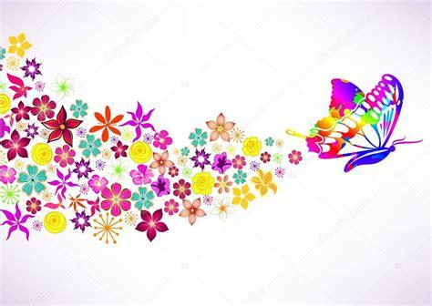 fiori e farfalle sfondo astratto con fiori e farfalle vettoriali stock