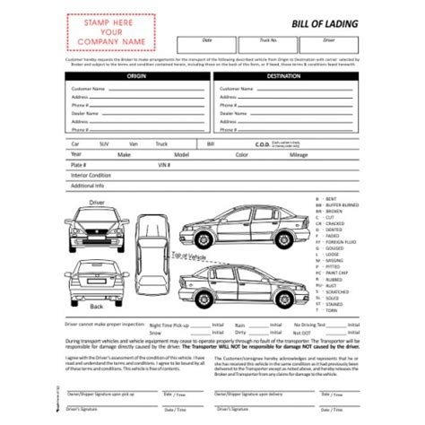 Blank Auto Bill Of Lading Auto Transport Bill Of Lading Template Free