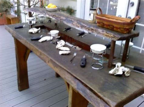 oyster shucking table oysters tables and we on