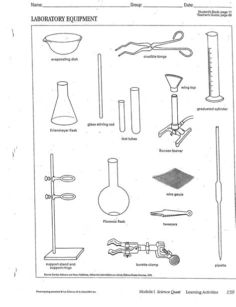 Lab Equipment Worksheet by Lab Safety Assignment And Lab Equipment Handout
