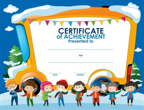 children s certificate template certificate template with children in winter free vector