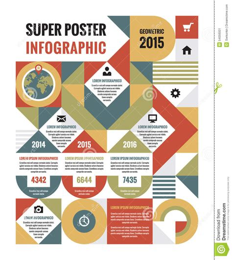 infographics poster layout geometric infographic concept poster stock vector image