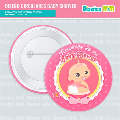 Pin For Baby Shower Dise 241 Os Circulares Babyshower Para Pines Y Botones