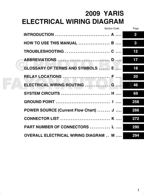 2009 toyota yaris wiring diagram manual original
