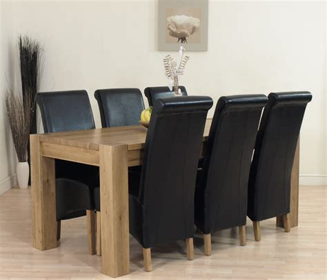 Black Leather Chairs And Dining Table by Kuba Solid Oak Dining Table And 6 Black Leather Chairs Ebay