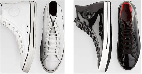 converse black or white patent leather high top tennis