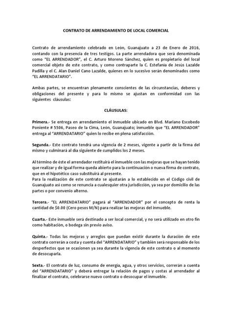 contrato de arrendamiento de local comercial contrato de arrendamiento de local comercial