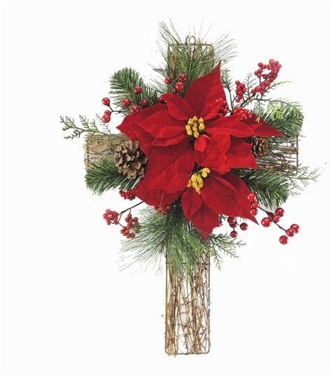 Floral Arrangements For Home Decor holiday cheer poinsettia cross twig wall decor red jo ann