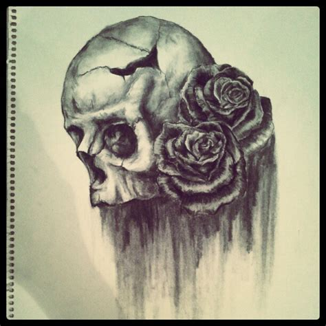 charcoal tattoo designs skull and roses i ve in charcoal