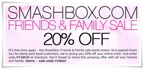 Friends And Family Discount At Prescriptives by Smashbox Friends And Family 20 Coupon Code Musings