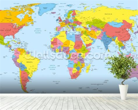 Safari Map Mural Wallpaper Muralswallpaper - colourful world map wallpaper wall mural wallsauce