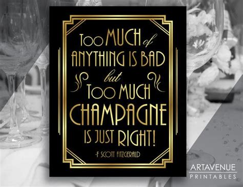 printable gatsby quotes gatsby decor sign chagne quote printable gatsby party