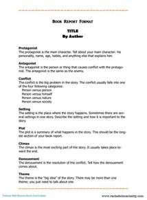 Examples Of Book Reports 2nd Grade Book Report Format Downloading 6th Grade Book