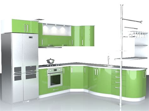 Software For Kitchen Cabinet Design Modern L Kitchen 3d Model 3dsmax Wavefront 3ds Autocad