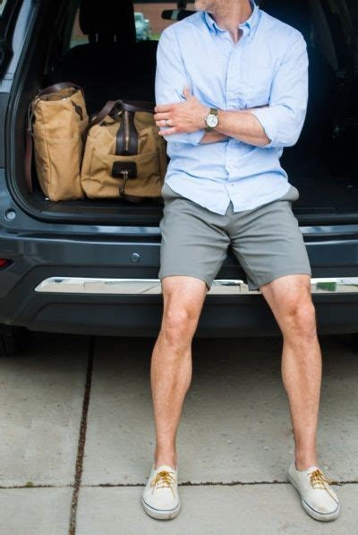 s light blue sleeve shirt grey shorts white