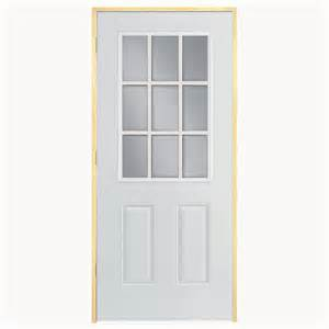Lowes Prehung Exterior Doors Shop Reliabilt Clear Prehung Outswing Fiberglass Entry Door Common 36 In X 80 In Actual 37 5