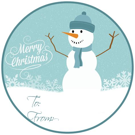 8 best images of printable snowman tags printable