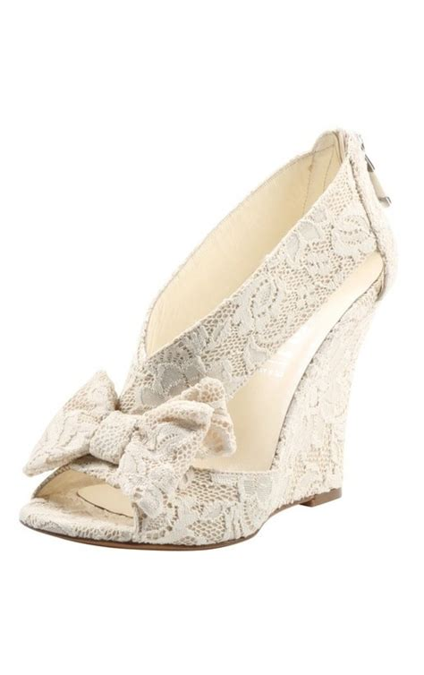 bow lace wedges would make comfy bridal shoes