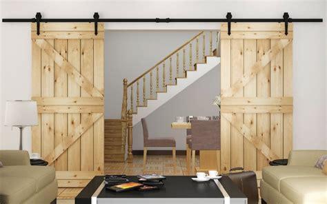 Rustic Barn Door Track Modern Rustic Barn Door Kits Sliding Track Hardware Black In Doors From Home Improvement