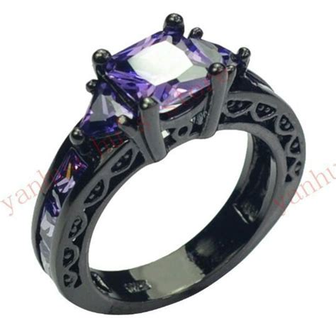 free purple cz princess cut black plated engagement ring