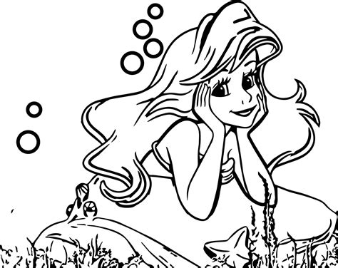 cute ariel coloring pages cute thinking ariel mermaid coloring page wecoloringpage