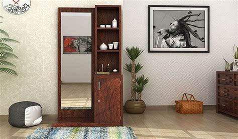 mirrors with storage kids study room furniture table in buy eden dressing table walnut finish online in india