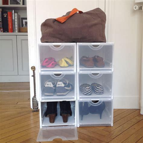 Formidable Petit Meuble Pour Chambre #5: Boite-de-rangement-pour-chaussures-pliable-et-empilable-blanche-et-transparente.jpg