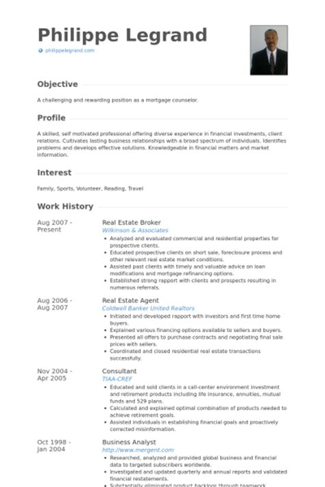 Real Estate Broker Resume by Real Estate Broker Resume Sles Visualcv Resume