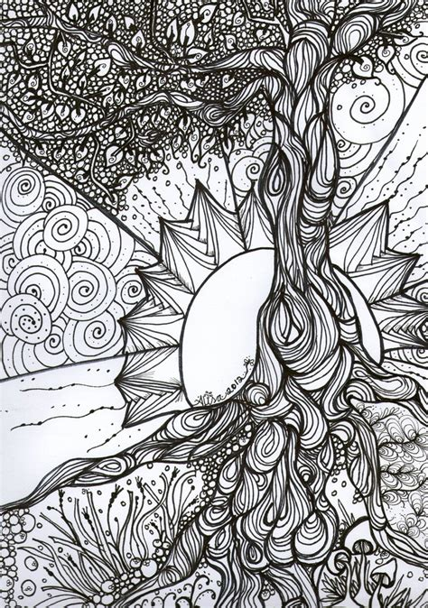Tree Coloring Pages For Adults quot tree of quot pen and ink colouring book series