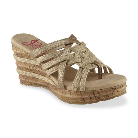 jellypop shoes jellypop s gold wedge sandal shoes