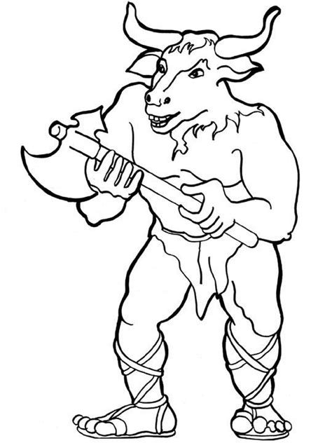 Free Coloring Pages Of Drawings Of Minotaur Minotaur Coloring Pages