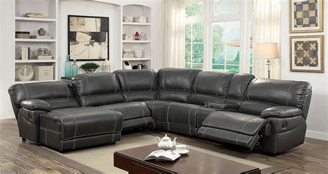 full reclining home theater sectional sofa set console furniture of america 6131gy gray reclining chaise console