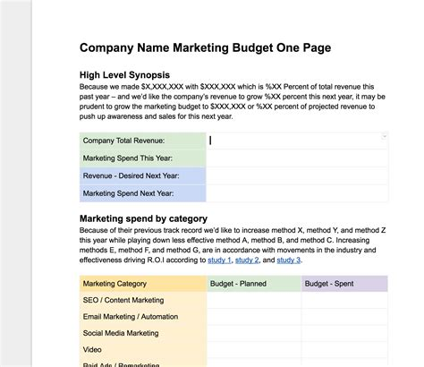 marketing page template easy free marketing budgeting one page template hook agency