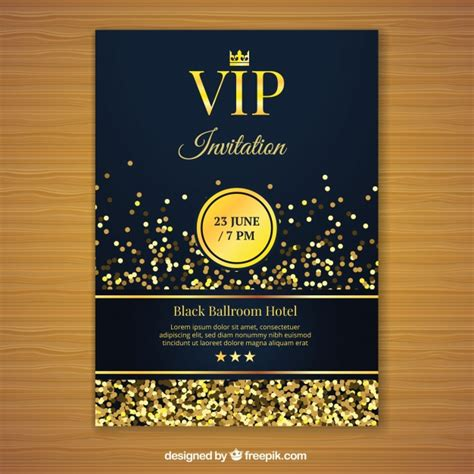 Golden Vip Invitation Template Vector Free Download Vip Birthday Invitations Templates Free