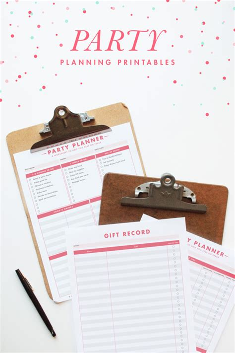 free party planning printables fab n free
