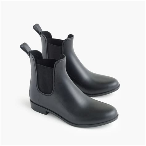 matte black boots j crew matte chelsea rainboots in black save 5 lyst