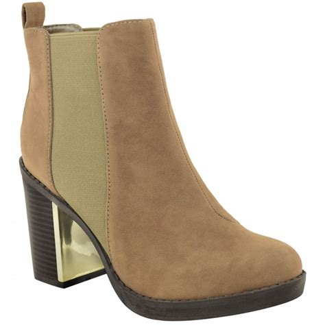 sally mocha block heel with gold detail ankle boots