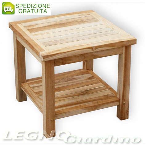 tavolo mensola tavolo 50x50 con mensola in legno teak